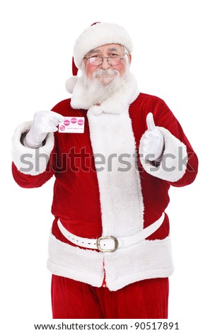 authentic Santa Claus showing credit card, Christmas budget,  isolated on white background - stock photo