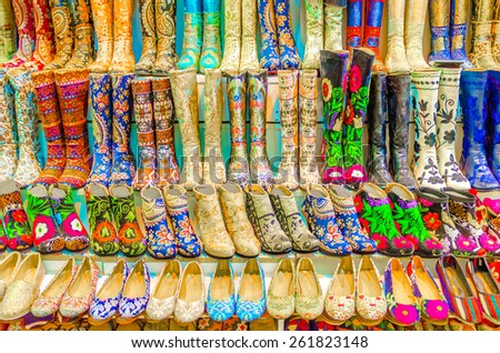 Authentic, shoes oriental store in Grand Bazaar, Istanbul, Turkey - stock photo