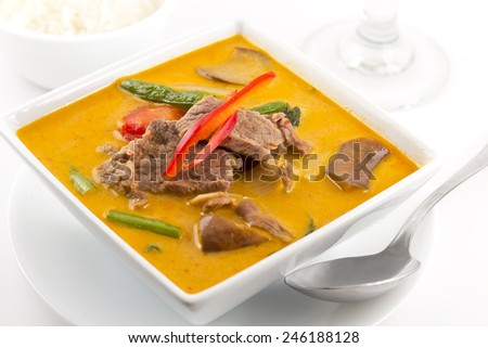 Authentic thai cuisine Red Curry with beef - stock photo