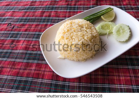 Authentic Thai fried rice taken outdoor with natural light, useful for asian foods concepts