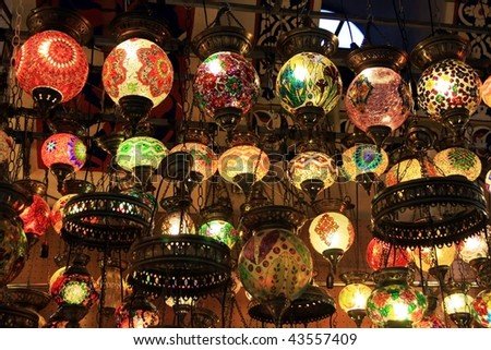 Authentic Turkish Lamps in Grand Bazaar, Istanbul - stock photo