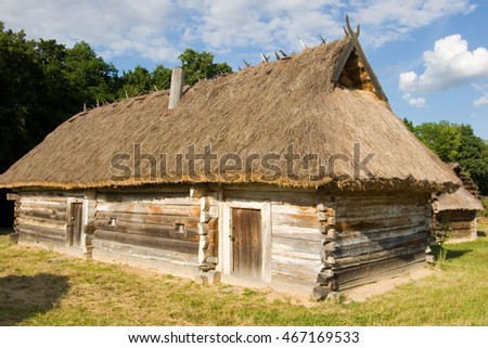 Authentic Ukrainian village house.A typical ukrainian antique house