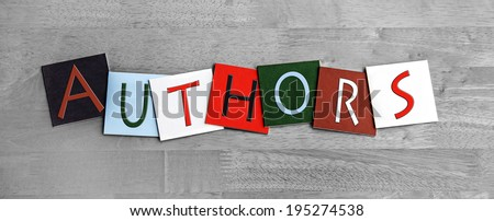 Authors, sign for writing education, libraries, book clubs, English literature and novels. - stock photo