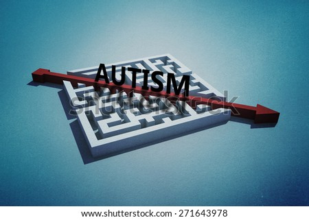 autism against red arrow cutting through puzzle - stock photo