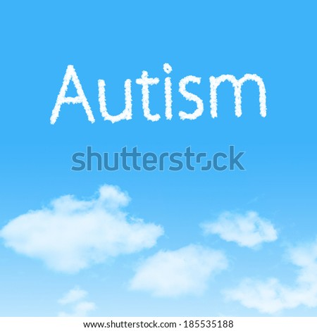 Autism cloud icon with design on blue sky background - stock photo