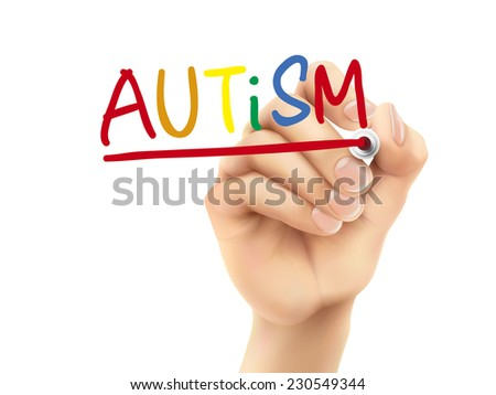 autism word written by hand on a transparent board - stock photo