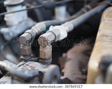 auto air condition, car, truck, pick up, vehicle after heavy duties and ready to be fixed in the garage