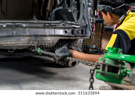 Auto body repair series : Pulling auto body