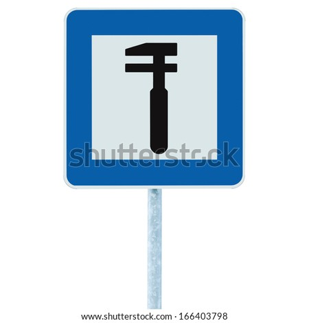 Auto Car Repair Shop Icon, Vehicle Mechanic Fix Service Garage Road Traffic Sign Roadside Pole Post Signage, Isolated