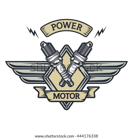 Auto emblem to the spark plugs and place for text. Illustration vector copy. - stock photo