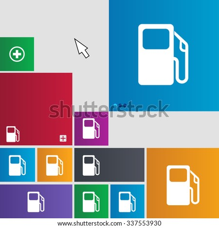 Auto gas station icon sign. buttons. Modern interface website buttons with cursor pointer. illustration - stock photo
