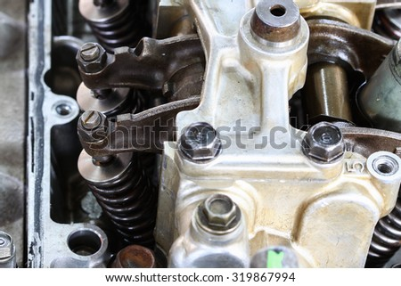 Auto machine or engine parts background, Close Up engine parts, Repair and Maintenance the engine routine.