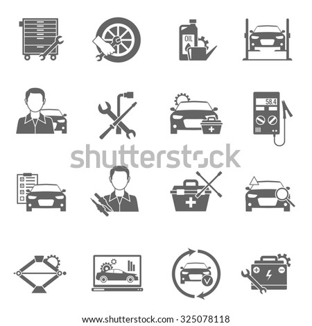 Auto mechanic and car technician work black icons set isolated  illustration