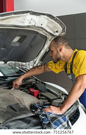 Auto Mechanic Checking the Engine of a Car