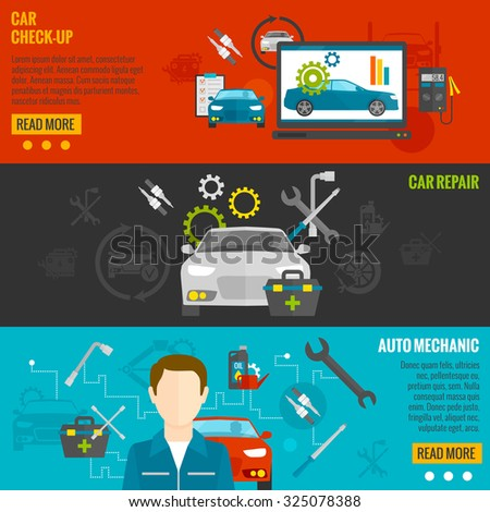 Auto mechanic horizontal banner set with car check-up and repair elements isolated  illustration - stock photo