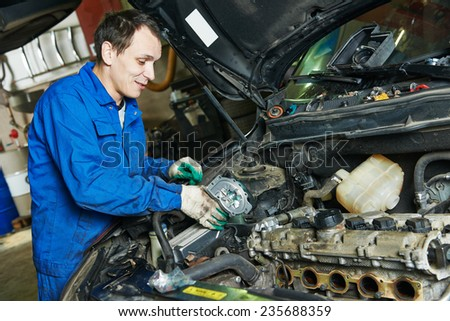 Auto Mechanic Repairing Automobile Car Engine Stock Photo 235688359 ...