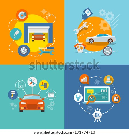 Auto mechanic service flat icons of maintenance car repair and working isolated  illustration - stock photo