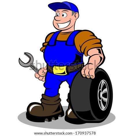 auto mechanic with wheel illustration isolated on white background - stock photo