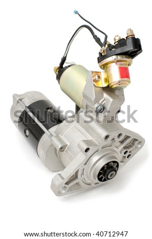 auto part, car electric generator against white background with clipping path