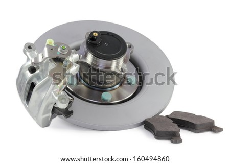 auto parts. brake mechanism for a car on a white background. hub, pads, disk. - stock photo