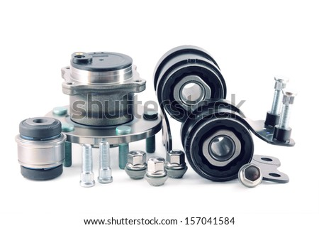 auto parts. detail of the suspension on a white background - stock photo