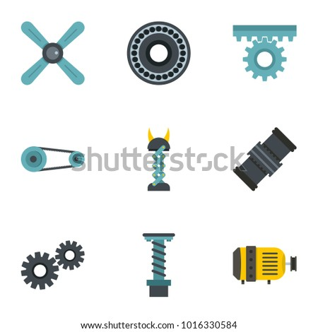 Auto parts icon set. Flat style set of 9 auto parts  icons for web isolated on white background