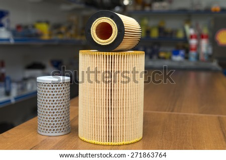 auto parts, oil filters - stock photo