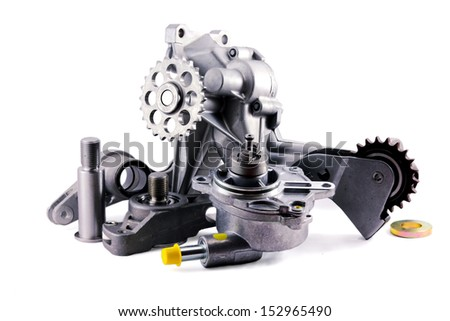 auto parts on a white background. pump; chain tensioner