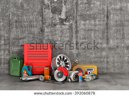 Auto parts on concrete wall. Auto service.
