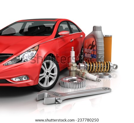 Auto parts with beautiful car. - stock photo