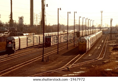 Auto Railcars in Detroit Yard - stock photo