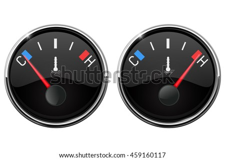 Auto temperature gauge. Hot and Cold indication. Illustration isolated on white background. Raster version