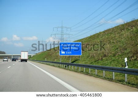 Autobahnkirche Baden-Baden or highway Church sign seen on the German Autobahn near the city of Baden in Germany - stock photo