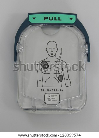 Automated External Defibrillator pads. - stock photo