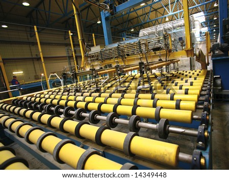 Automated line in manufacture - stock photo