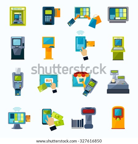 Automated payment machine flat icons set with bank credit card money withdrawal system abstract isolated  illustration - stock photo