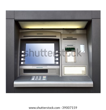 Automated teller machine close up isolated over white background - stock photo