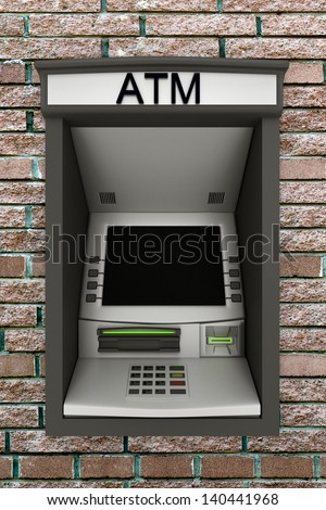Automated teller machine on a brick wall