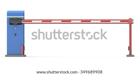 Automatic barrier on white background. 3d render - stock photo