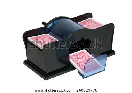 Automatic Card Shuffler Machine isolated on white background - stock photo
