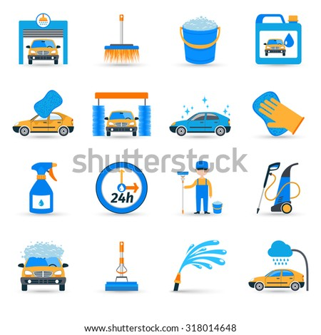 Automatic carwash facilities innovative self service foaming brush unit equipment flat icons set abstract  isolated illustration