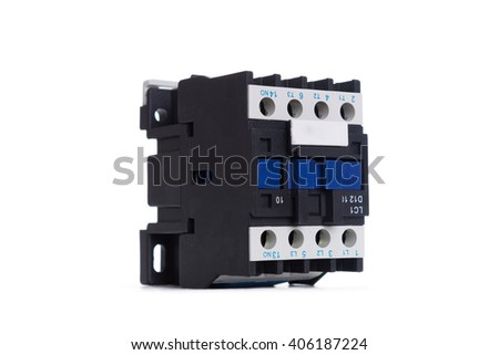Automatic circuit breaker, isolated on a white background.. - stock photo