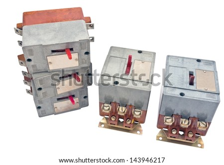 Automatic circuit breaker, isolated on white background