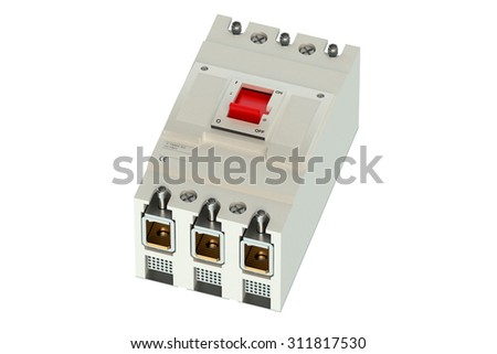 Automatic circuit breaker  isolated on white background - stock photo