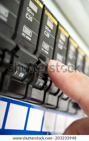 Automatic circuit breakers - stock photo