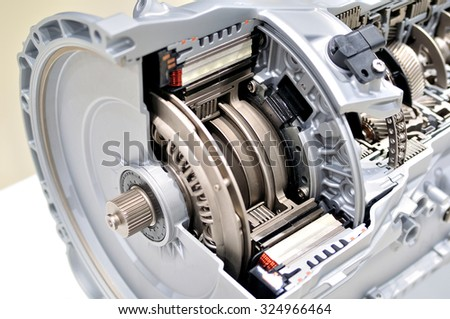 Automatic clutch cross section with gearbox. - stock photo
