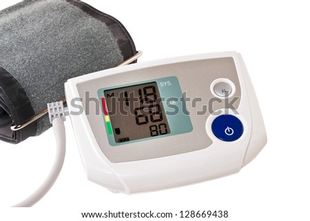 automatic digital blood pressure monitoring meter - stock photo