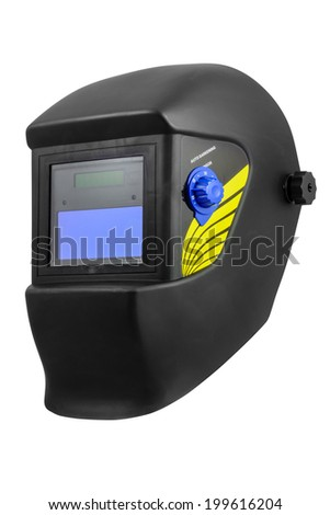 Automatic dimming welding mask. Isolated on white background with clipping path. - stock photo