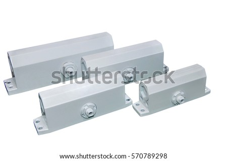 Automatic door closer doors. Isolated on white. Place for the test.