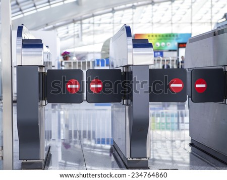 Automatic entrance ticket for public train and subway - stock photo